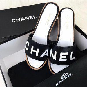 """Chanel Cork """"CHA NEL"""" Sandals"""